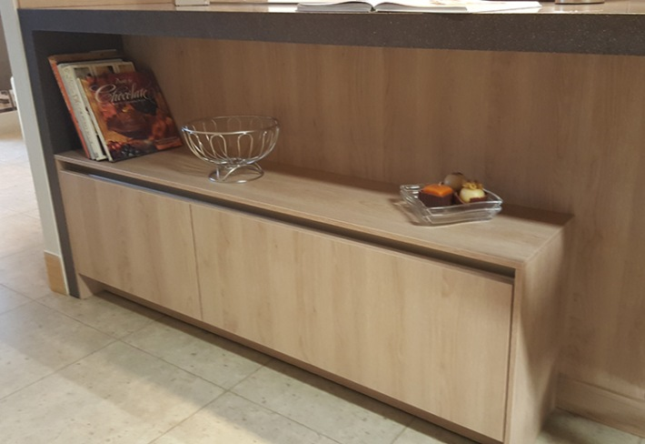 Display area and wrap over worktop